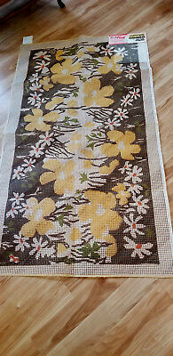 Vintage BUCILLA 30x60 POPPIES Stamped Rug Canvas #386 Latch Hook Red or Gold Var