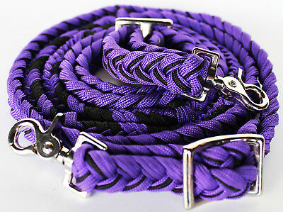 Roping Knotted Horse Tack Western Barrel Reins Nylon Braided Purple Rein 607182