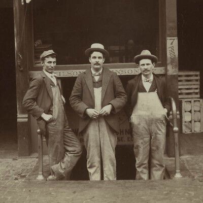 Antique 1880's Photo,Men in Overalls at Wilson & Johnson Produce in Boston,MASS