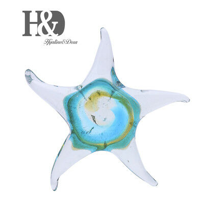 Hand Blown Glass Star Fish, Handmade Murano Style Sea Animal Figurine Home Decor