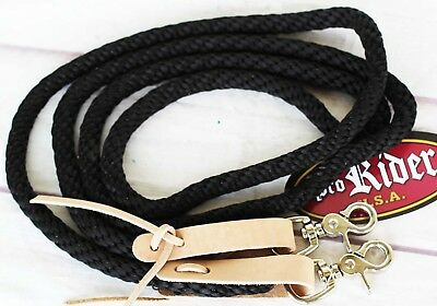 Horse Roping Tack Western Barrel Contest Reins Nylon Braided Snap 7' Tack 607203