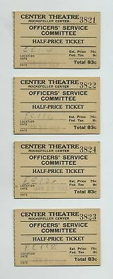 (4) 1943 Ticket Stubs Center Theatre Rockefeller Center New York NY NYC wz2319