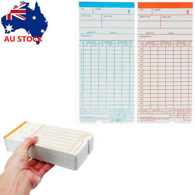 Monthly Payroll Cards For Employee Time Attendance Bundy Clock Recorder 200/400