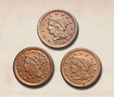 Braided Hair Large Cent, 1847, 1849, 1853, Lot of 3