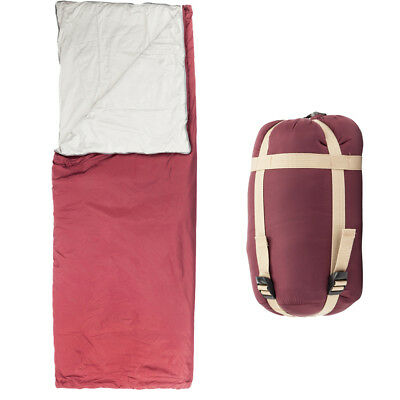 Summer Camping Hiking Envelope Sleeping Bag Outdoor Travel /w Carry Bag Wine Red