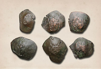 BYZANTINE. Lot of 6 Trachy Cup coins to ID