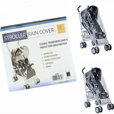 Universal Transparent Pushchair Stroller Rain Cover with Pink Trim Heavy Duty