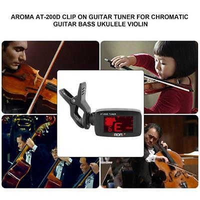 Aroma AT-200D Clip On Guitar Tuner for Chromatic Guitar Bass Ukulele Violin AE