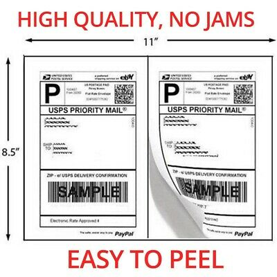 400 Shipping Labels Rounded Corners 2 Per Sheet 8.5 X 11 Self Adhesive