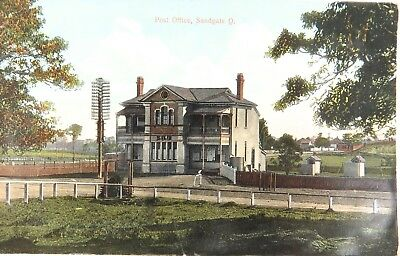 .c1910 RARE VIEW POST OFFICE, SANDGATE QLD GLOSS COLOUR POSTCARD.