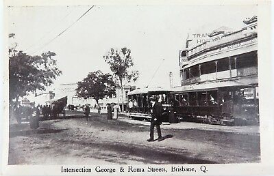 .1915 Brisbane, George & Roma Streets Postcard. Retrac Series.