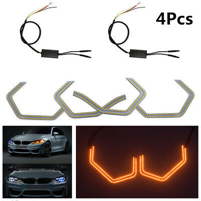 4Pc 540-SMD Concept Iconic Style LED Angel Eye Kit w/Relay Wirings For BMW M3 M4