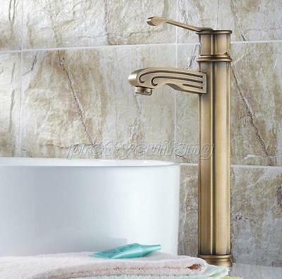 Antique Brass Single Handle Bathroom Sink Vessel Faucet Basin Mixer Tap Pnf317