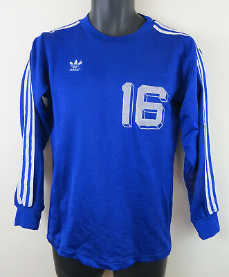 Mens Adidas Blue Football Shirt Vintage Vtg 80s 1980s Jersey Trikot Medium 5 6