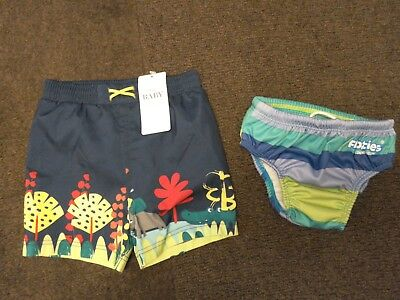Baby boys NWT swimming shorts &  floaties 6-12 & 9-12 mths