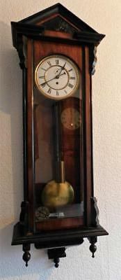 walnut ebonised single weight vienna wall clock