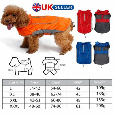 Dog Jacket Rain Coat Clothes Suit Harness Vest Pet Puppy Small Medium Large XL