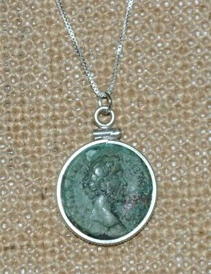 Authentic Ancient Roman Coin of Emperor Antoninus Pius 925 Silver Necklace