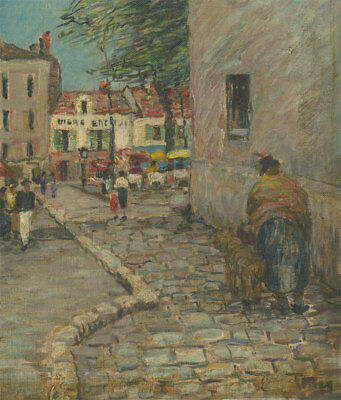 Impressionist 20th Century Oil - French Street Scene