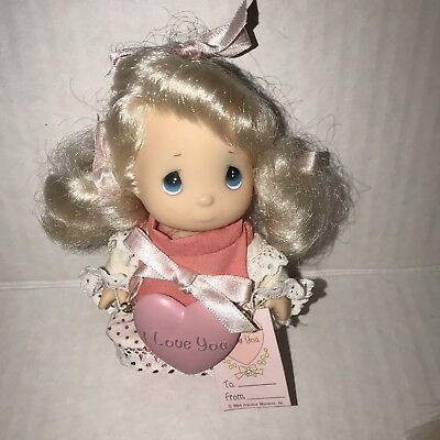 """Precious Moments Collection, Doll w/""""I Love You"""" Tag & Heart, Valentine, 4"""" MINT"""