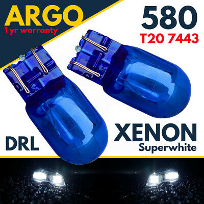 W21/5w T20 580 Dual Filament Drl Sidelight 7443 Super White Hid Effect Bulbs 12v