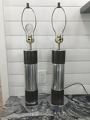 pair vintage Milo Baughman Style mid century Modern Chrome Walnut Table Lamps