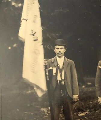 Antique Tintype Photo Outdoors Man Wearing Ribbons Unusual Flag