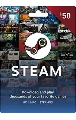 $50 Steam Gift Card PC Mac and SteamOS Instant Access to 1000's of Games *New*