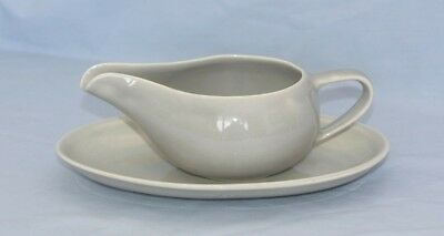 Discontinued Paden City Greenbriar Gray Gravy Boat & Underplate