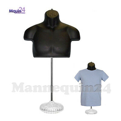 Male Torso Mannequin Form - Black w/ Acrylic Base
