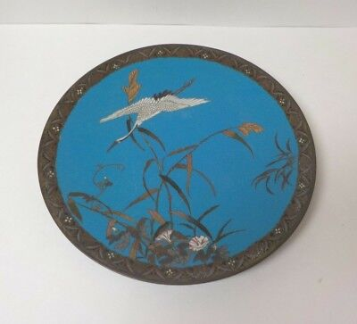 "19th C. Japanese Cloisonne Enamel 12"" Charger, Crane in Flight"