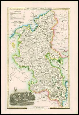 1846 - Original Antique Map of BUCKINGHAMSHIRE by Slater NEWPORT PAGNELL CHURCN