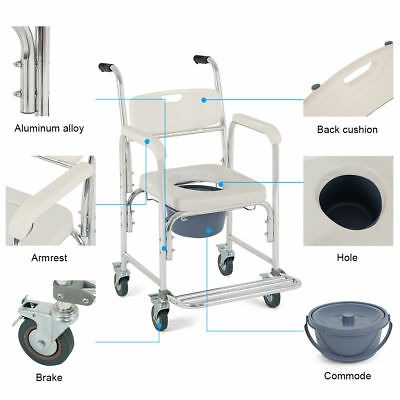 Medical Commode Wheelchair Bathroom Shower Bedside Toilet Padded Seat Wheel Lock