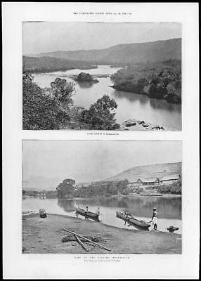 1894 Antique Print  -  AFRICA Madagascar River Scenery Mangoro Canoes  (111)