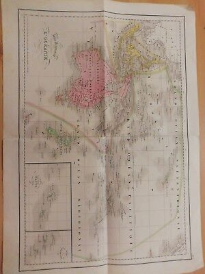 Authentic 1865 French old map of Australia from Delamarche & Grosselin atlas