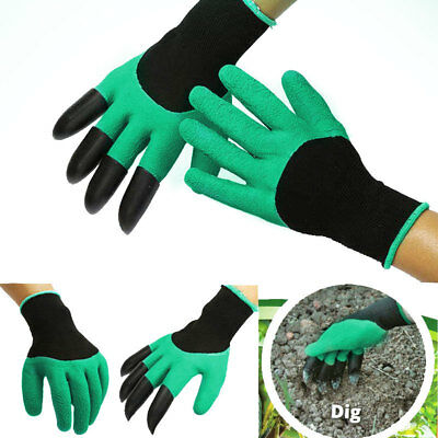 Hot Garden GENIE Gloves Digging&Planting with 4 ABS Plastic Claws Gardening PF