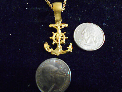 bling gold plated sailors cross anchor sailboat navy pendant charm necklace myth