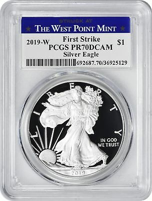 2019-W American Silver Eagle Dollar PR70DCAM PCGS First Strike West Point Label