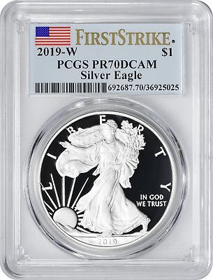 2019-W American Silver Eagle Dollar PR70DCAM PCGS Proof 70 Deep Cam First Strike