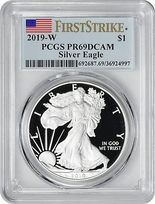 2019-W American Silver Eagle Dollar PR69DCAM PCGS Proof 69 Deep Cam First Strike