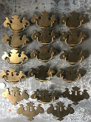 Vintage Lot of Ball&Ball Reproduction Chippendale Brass drawer pulls escutcheons