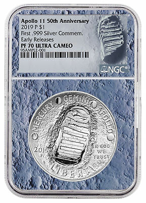 2019 Apollo 11 50th Commem Silver Dollar NGC PF70 ER Moon Core SKU56543