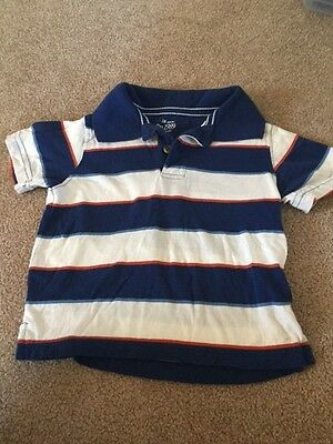 Toddler Boys Childrens Place Blue Striped Polo Shirt Size 18 Months