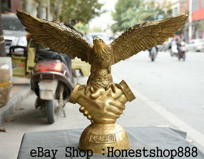 """24"""" Chinese Brass Fly Arabia Hawk Eagle Bird Open Wigs On Hand By Hand Sculpture"""