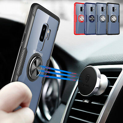 For Samsung S9 Note 9 Plus Case 360º Ring Holder Magnetic Tempered Glass Cover