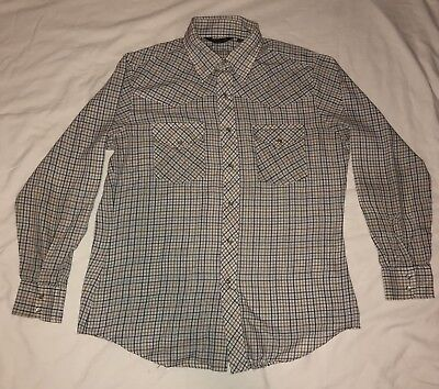 116e18aab15 Mens JCPenny White Plaid Pearl Snap Button Down Long Sleeve Dress Shirt  Size L
