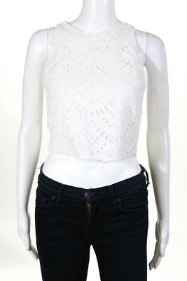 2ce3beb384a Alice + Olivia White Cotton Eyelet Overlay Sleeveless Crop Tank Top Size 2