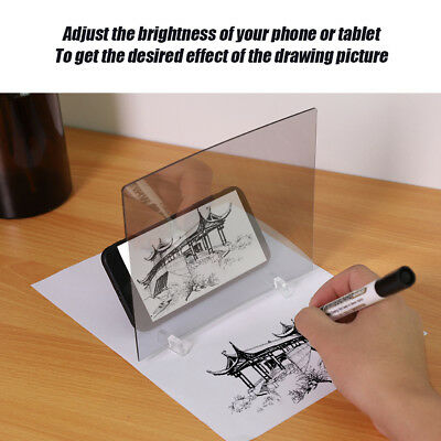 LED Light Stencil Drawing Board Tracing Sketch Mirror Reflectio Phone Dimming