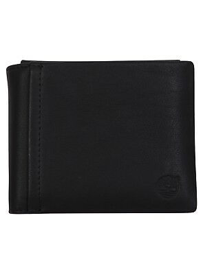 TIMBERLAND SLEEKER LEATHER Mens Black Coin Pocket Wallet New