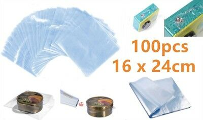 100x POF Shrink Film Wrap Bags Clear Transparent Heat Seal Gift Packing 16x24cm